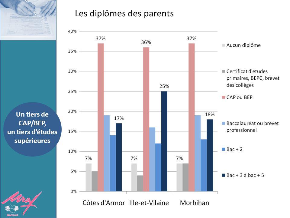 Les diplômes des parents Un tiers de CAP/BEP, un tiers détudes supérieures