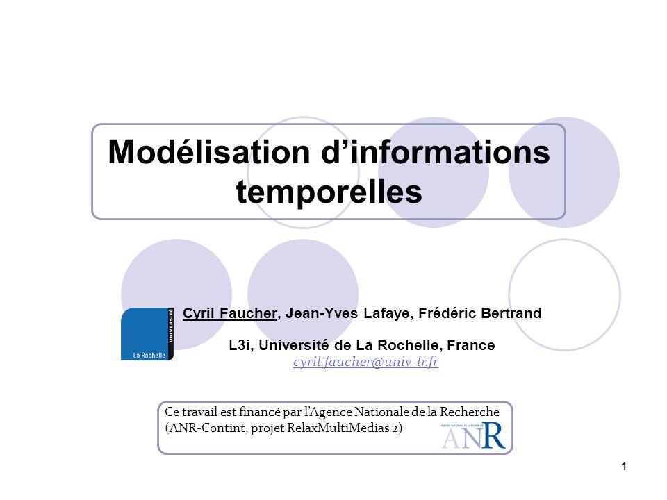 1 Modélisation dinformations temporelles Ce travail est financé par lAgence Nationale de la Recherche (ANR-Contint, projet RelaxMultiMedias 2) Cyril F