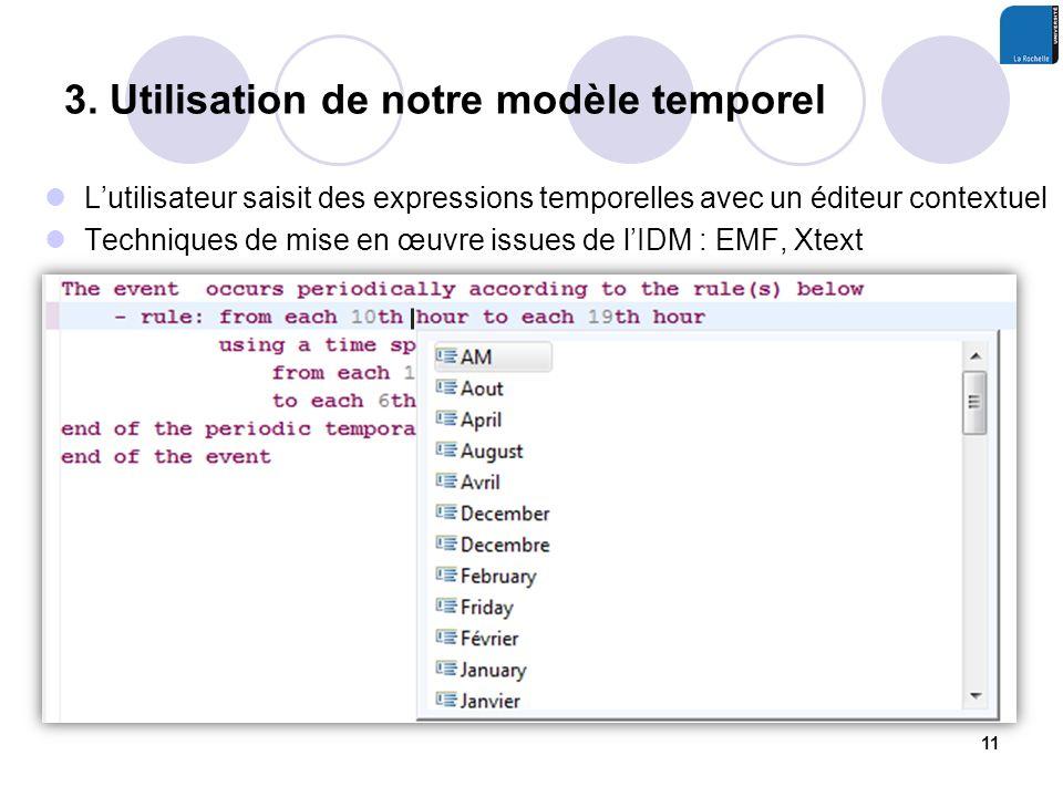 Lutilisateur saisit des expressions temporelles avec un éditeur contextuel Techniques de mise en œuvre issues de lIDM : EMF, Xtext 3. Utilisation de n