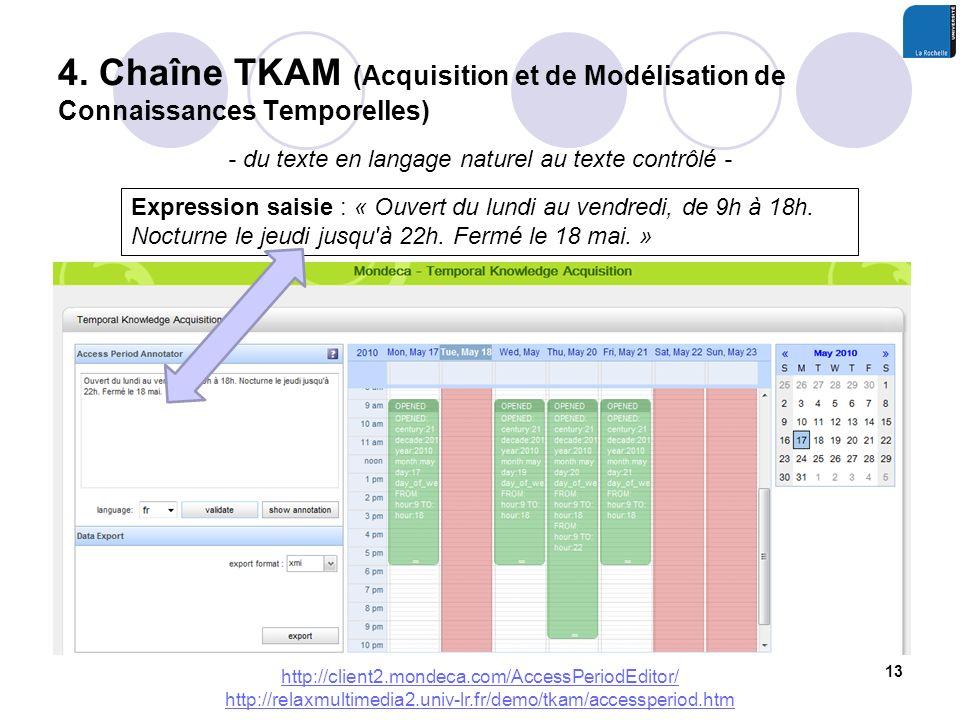4. Chaîne TKAM (Acquisition et de Modélisation de Connaissances Temporelles) 13 - du texte en langage naturel au texte contrôlé - http://client2.monde