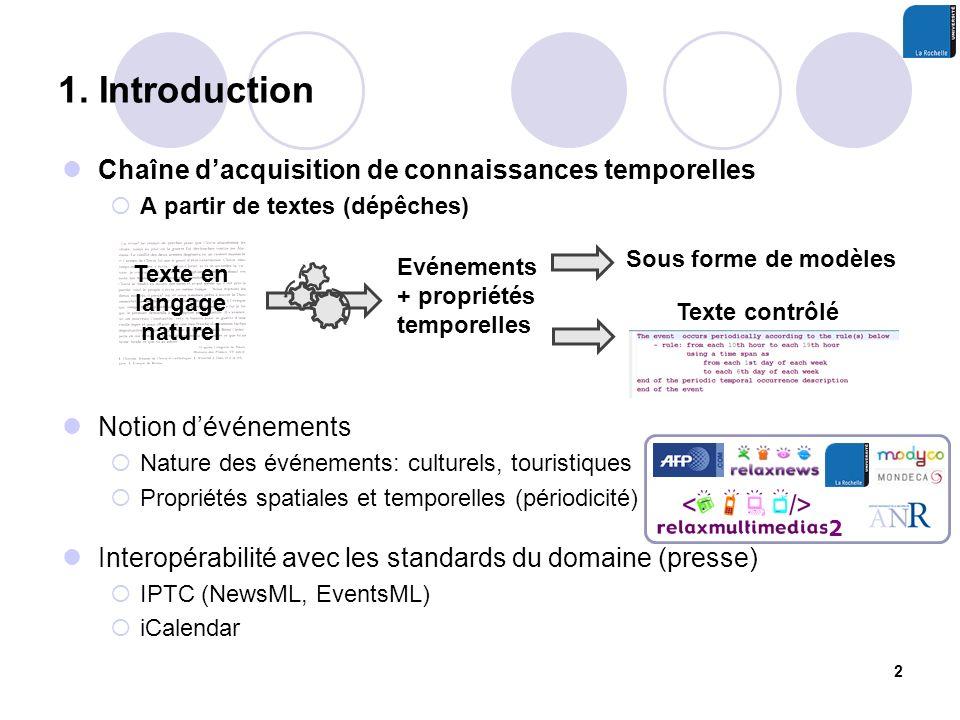 1. Introduction Chaîne dacquisition de connaissances temporelles A partir de textes (dépêches) Notion dévénements Nature des événements: culturels, to