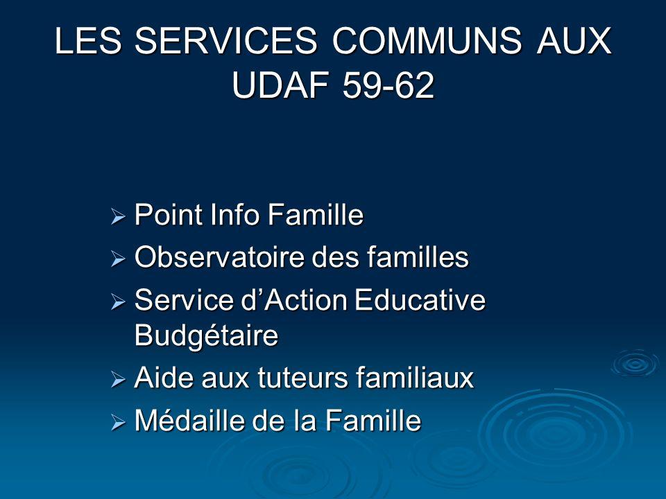 LES SERVICES COMMUNS AUX UDAF 59-62 Point Info Famille Point Info Famille Observatoire des familles Observatoire des familles Service dAction Educativ