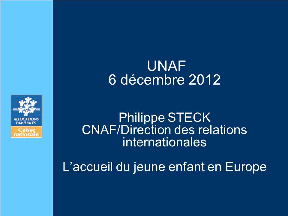 UNAF 6 décembre 2012 Philippe STECK CNAF/Direction des relations internationales Laccueil du jeune enfant en Europe