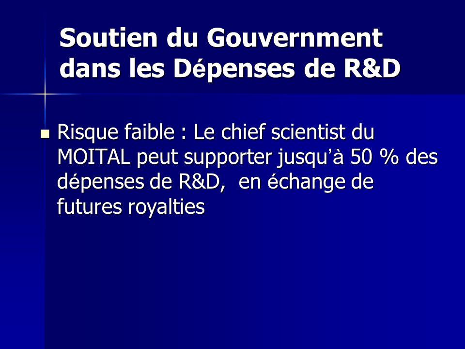 Soutien du Gouvernment dans les D é penses de R&D Risque faible : Le chief scientist du MOITAL peut supporter jusqu à 50 % des d é penses de R&D, en é change de futures royalties Risque faible : Le chief scientist du MOITAL peut supporter jusqu à 50 % des d é penses de R&D, en é change de futures royalties