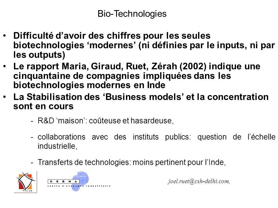 Difficulté davoir des chiffres pour les seules biotechnologies modernes (ni définies par le inputs, ni par les outputs) Le rapport Maria, Giraud, Ruet