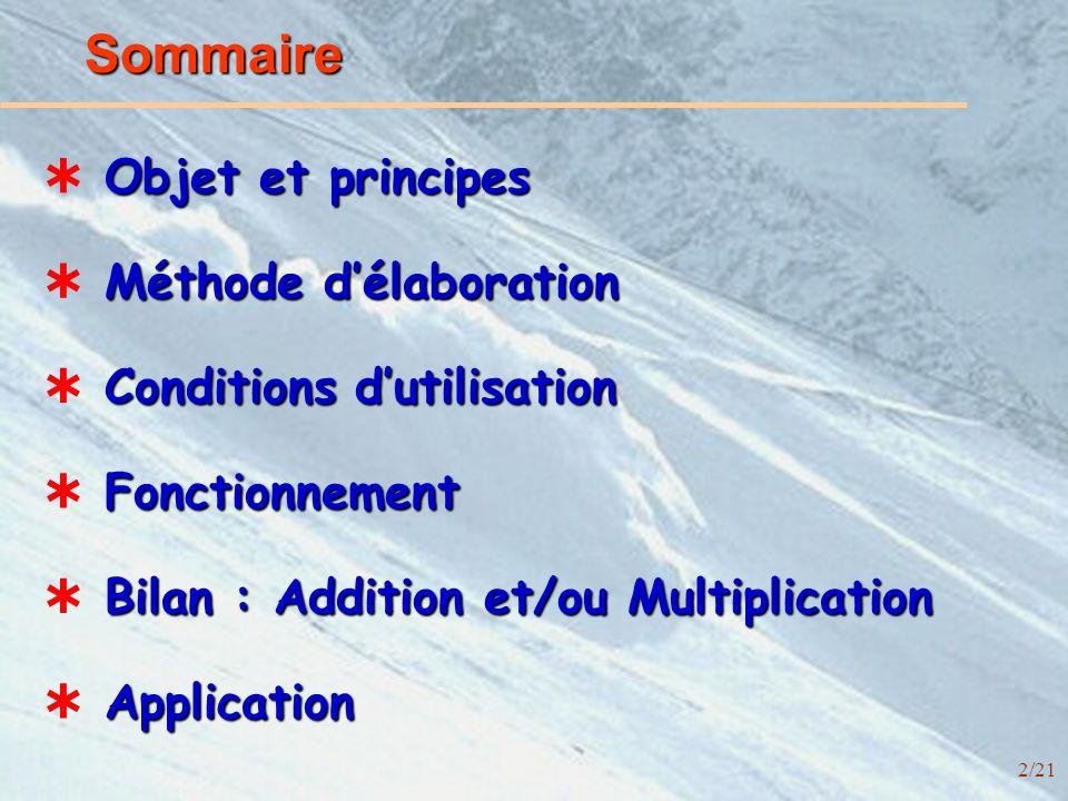 2/21 Sommaire Objet et principes Conditions dutilisation Méthode délaboration Bilan : Addition et/ou Multiplication Application Fonctionnement