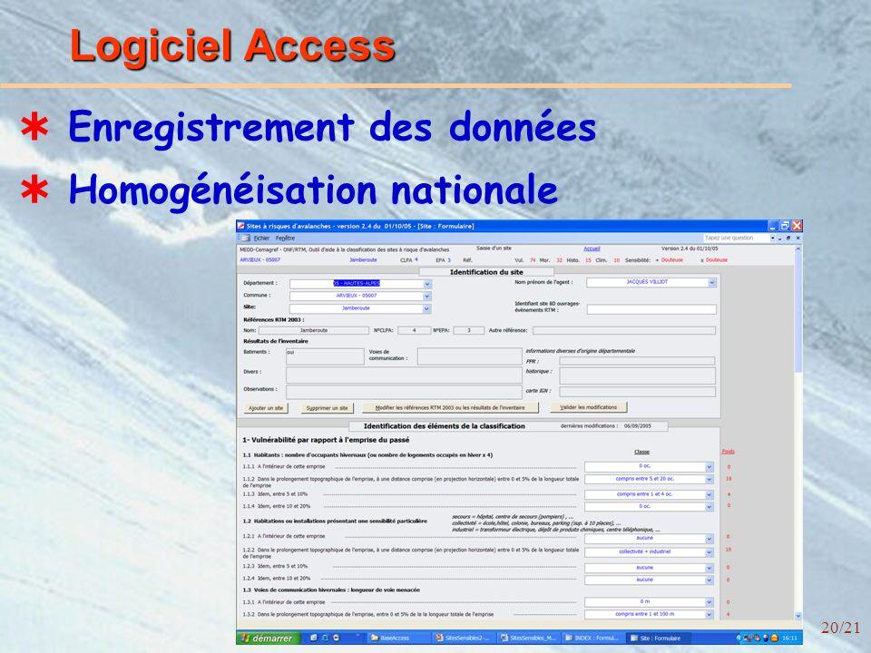 20/21 Logiciel Access Enregistrement des données Homogénéisation nationale