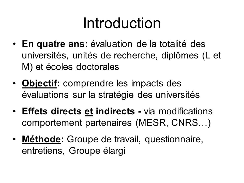 Introduction (2) 1. Constats 2. Questionnements sur lAERES 3. Mise en perspective 4. Conclusions