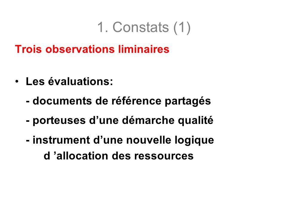 1. Constats (1) Trois observations liminaires Les évaluations: - documents de référence partagés - porteuses dune démarche qualité - instrument dune n