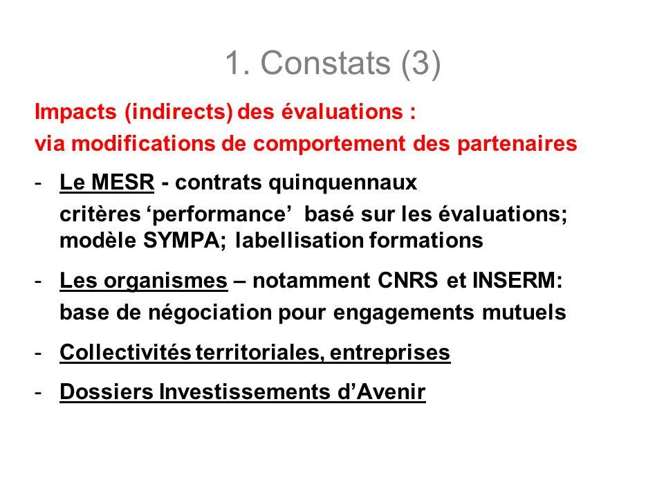1. Constats (3) Impacts (indirects) des évaluations : via modifications de comportement des partenaires -Le MESR - contrats quinquennaux critères perf