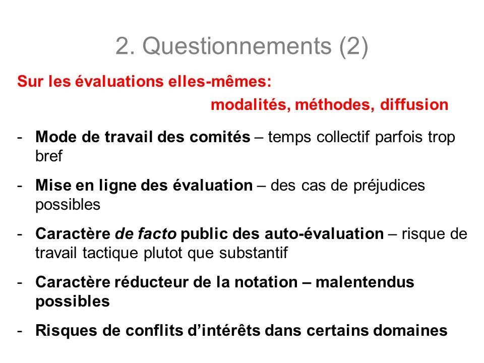 2. Questionnements (2) Sur les évaluations elles-mêmes: modalités, méthodes, diffusion -Mode de travail des comités – temps collectif parfois trop bre