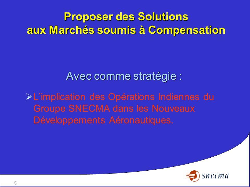 5 Proposer des Solutions aux Marchés soumis à Compensation Avec comme stratégie : Limplication des Opérations Indiennes du Groupe SNECMA dans les Nouv