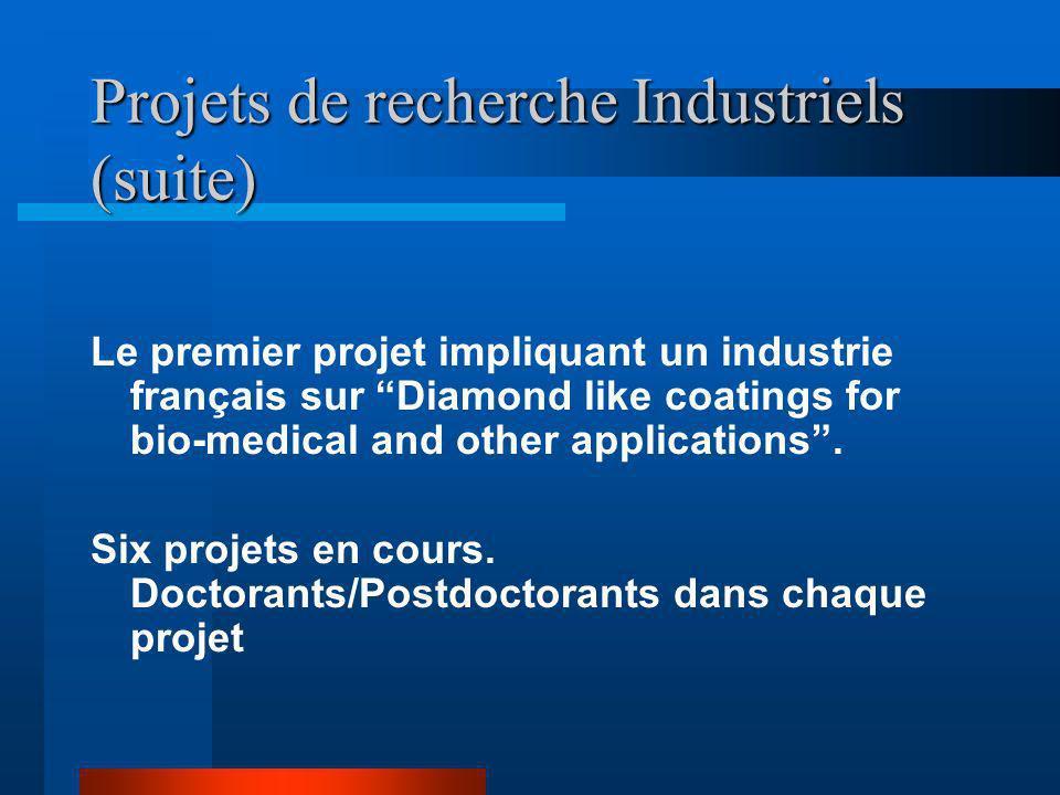 Aspects avantageux aux partenaires industriels Recherche fait par le chercheur pour beneficier lindustrie Recherche financée par le CEFIPRA Bourses do
