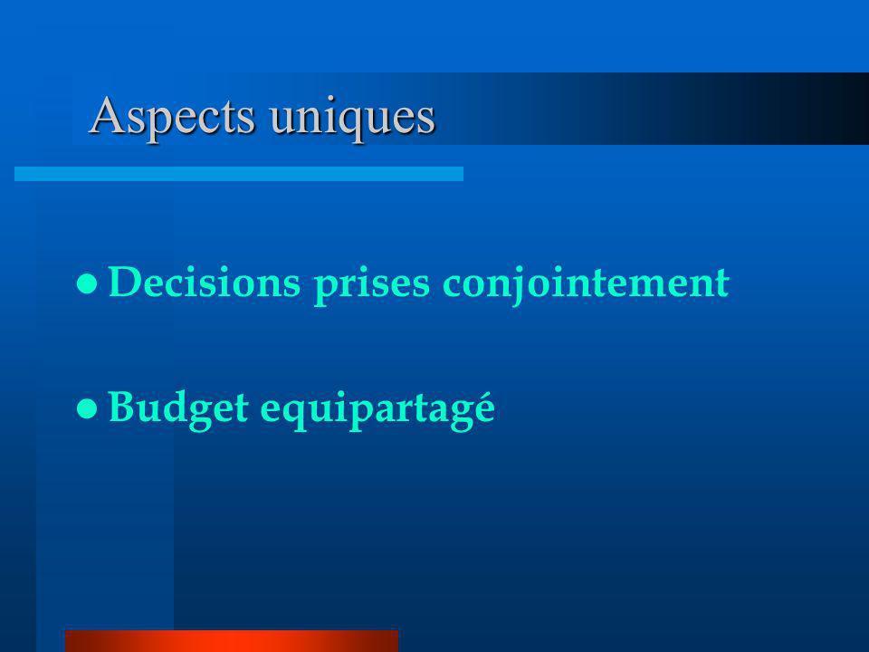 Aspects uniques Aspects uniques Decisions prises conjointement Budget equipartagé