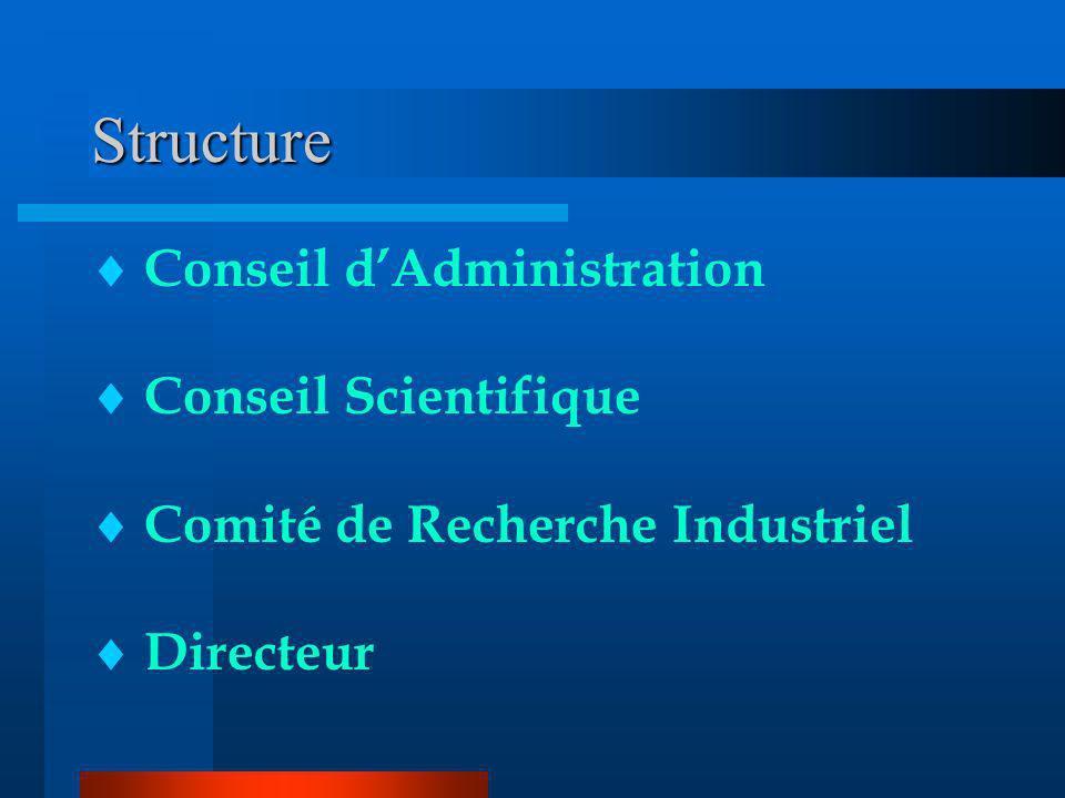 Structure Conseil dAdministration Conseil Scientifique Comité de Recherche Industriel Directeur
