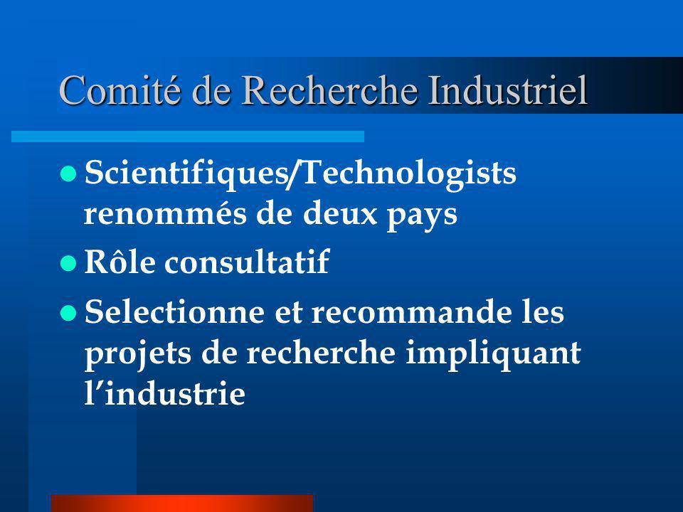 Comité de Recherche Industriel Scientifiques/Technologists renommés de deux pays Rôle consultatif Selectionne et recommande les projets de recherche impliquant lindustrie