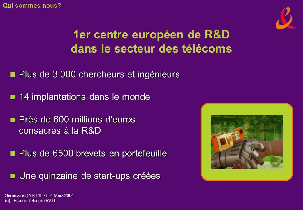 Seminaire RNRT/IFRI - 4 Mars 2004 (c) - France Télécom R&D 2002 : eConf, VPN mobile, @llo, boîtier vocal, 3131, Top Message 2001 : Présentation du numéro, Messager, moteur de recherche Alapage services de géolocalisation, Autorappel, Orange MIB 2000 : 1ers services WAP, 1ers tests UMTS et NGN 1999 : Internet sur VTHD 1997 : Cartes prépayées mobiles (Mobicarte) 1997 : Expérimentations dInternet à haut débit sur ADSL 1993 : Première transmission de TV numérique 1987 : Ouverture du RNIS 1982 : Lancement du GSM 1981 : Expérimentation des services en ligne Télétel et Minitel 1978 : Ouverture du réseau de données Transpac 1960 : Première transmission TV par satellite 1953 : Première transmission TV par radio (avec lAngleterre) Une culture de linnovation Qui sommes-nous?