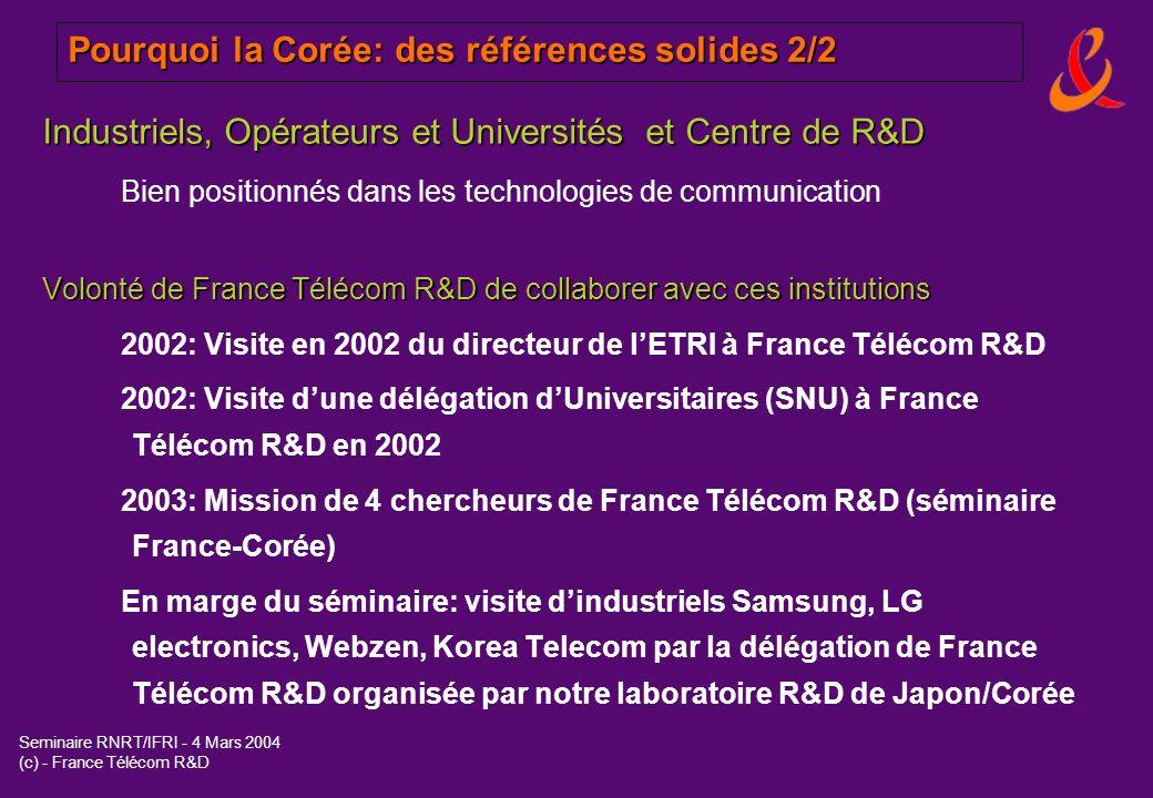 Seminaire RNRT/IFRI - 4 Mars 2004 (c) - France Télécom R&D Pourquoi la Corée: des références solides 2/2 Industriels, Opérateurs et Universités et Cen