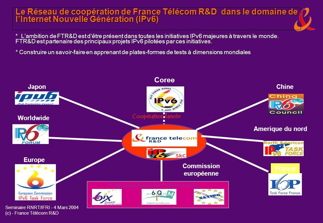 Thèmes de coopération enviagés par France Télécom R&D et des partenaires coréens suite à la mission en Corée de septembre 2003 IPv6 (Internet Nouvelle Génération) Smart Tag (Objets communicants) project avec ETRI Home networking services additionnellement a CARAMEL (Projet RNRT labellisé en mai 2003, 10 partenaires et France Telecom est le leader de ce projet).
