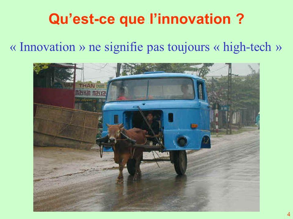 4 Quest-ce que linnovation ? « Innovation » ne signifie pas toujours « high-tech »