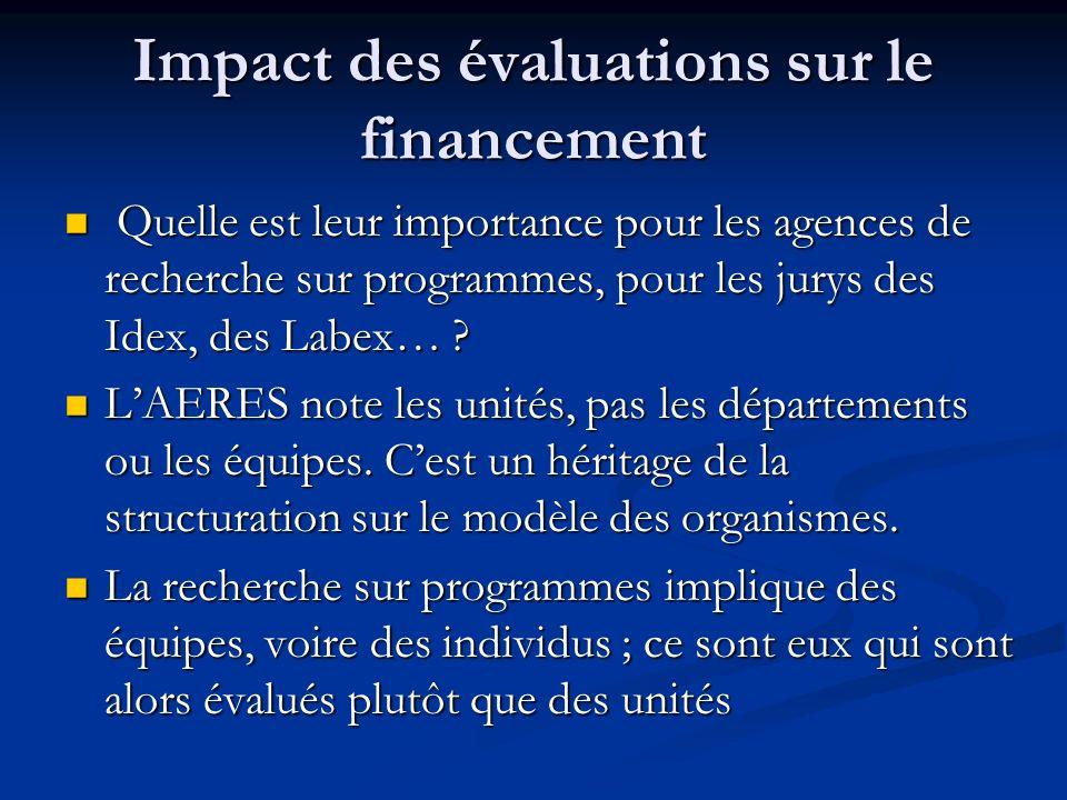 Impact des évaluations sur le financement Quelle est leur importance pour les agences de recherche sur programmes, pour les jurys des Idex, des Labex…