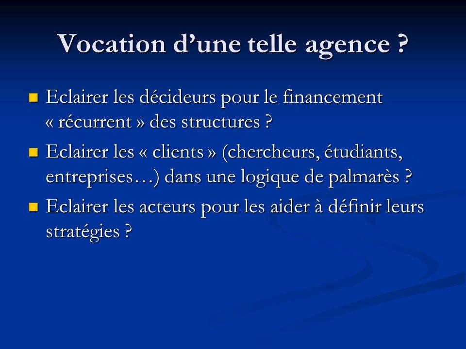 Vocation dune telle agence ? Eclairer les décideurs pour le financement « récurrent » des structures ? Eclairer les décideurs pour le financement « ré