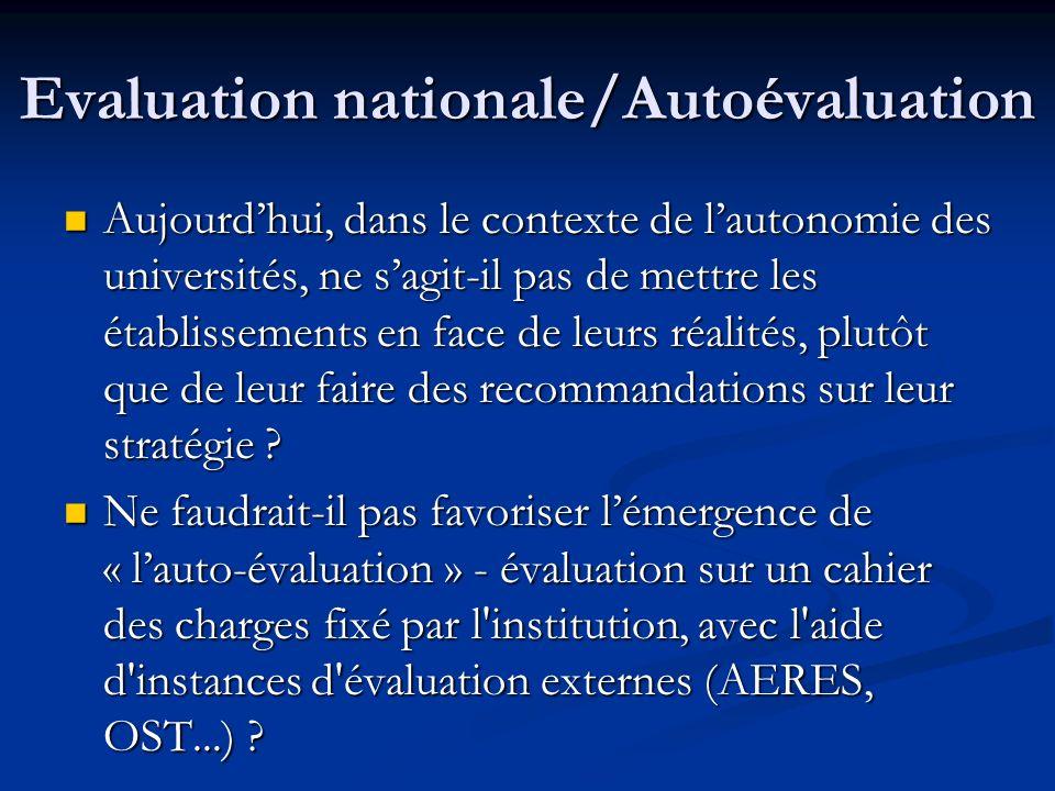 Evaluation nationale/Autoévaluation Aujourdhui, dans le contexte de lautonomie des universités, ne sagit-il pas de mettre les établissements en face de leurs réalités, plutôt que de leur faire des recommandations sur leur stratégie .