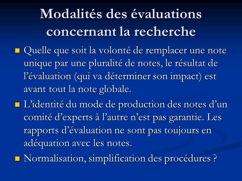 Modalités des évaluations concernant la recherche Quelle que soit la volonté de remplacer une note unique par une pluralité de notes, le résultat de lévaluation (qui va déterminer son impact) est avant tout la note globale.