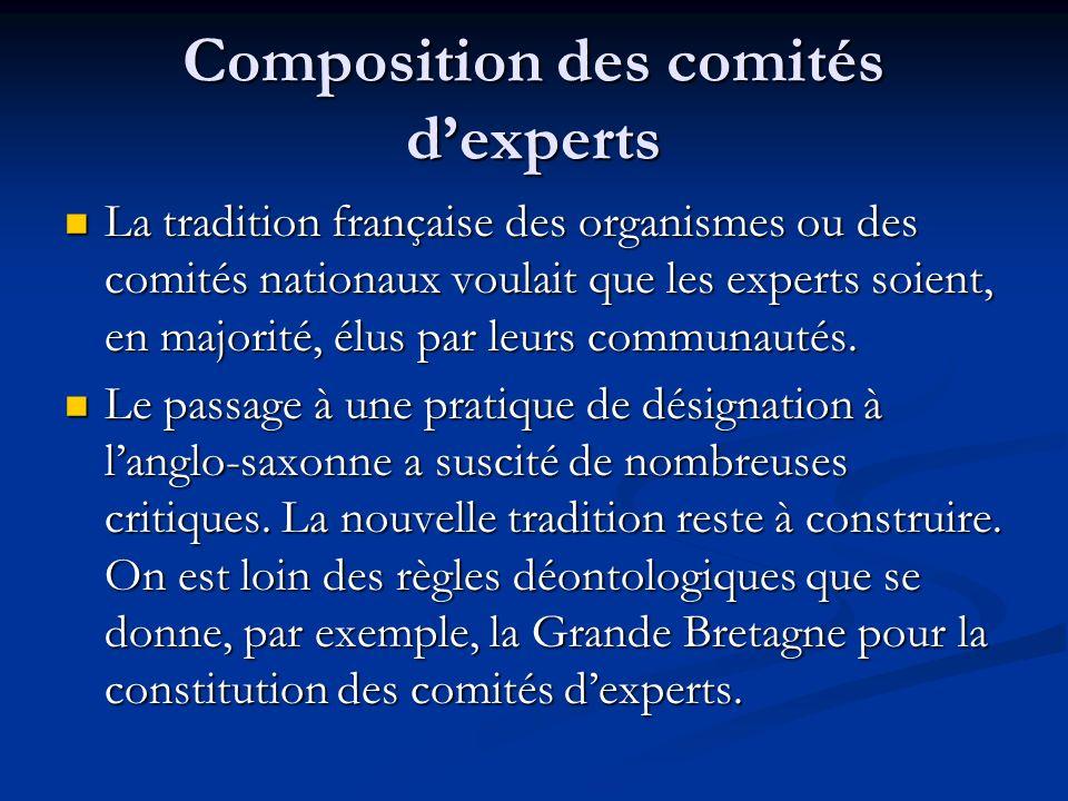 Composition des comités dexperts La tradition française des organismes ou des comités nationaux voulait que les experts soient, en majorité, élus par leurs communautés.