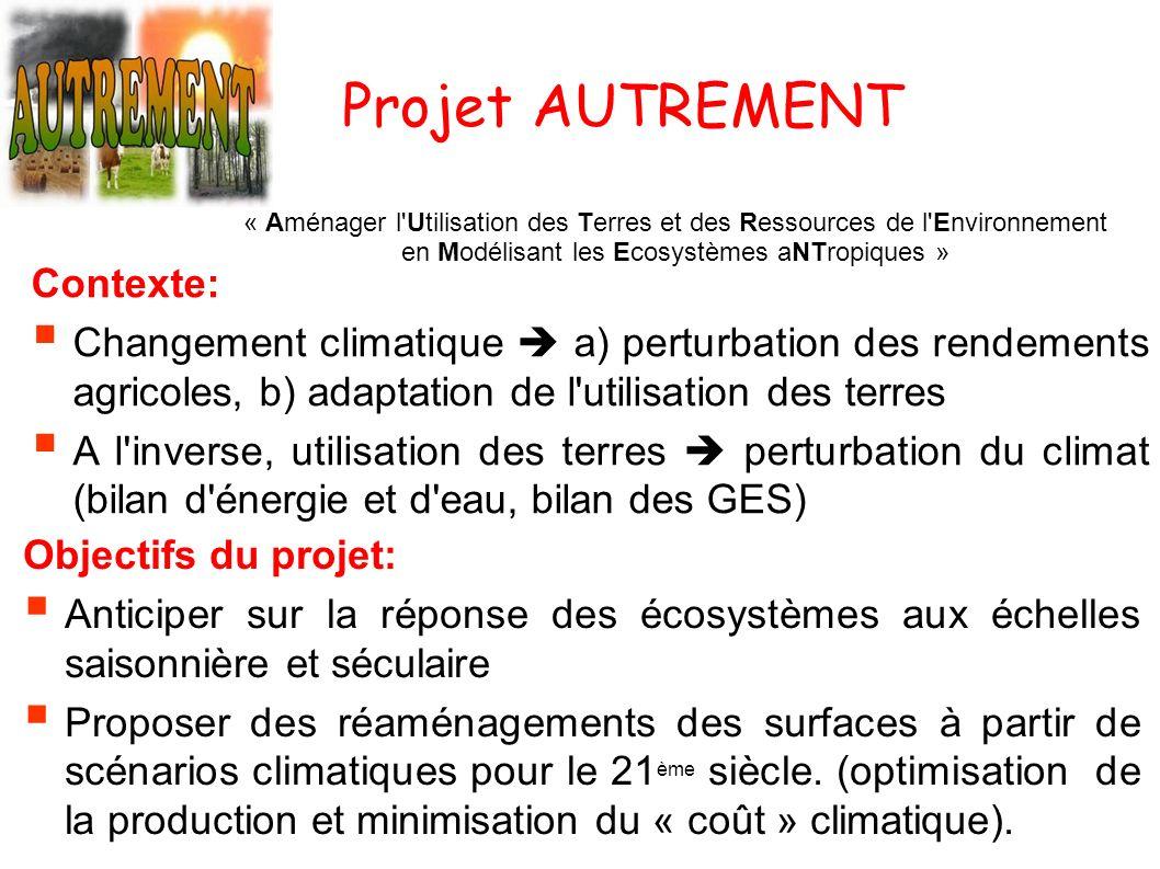 Projet AUTREMENT « Aménager l'Utilisation des Terres et des Ressources de l'Environnement en Modélisant les Ecosystèmes aNTropiques » Objectifs du pro