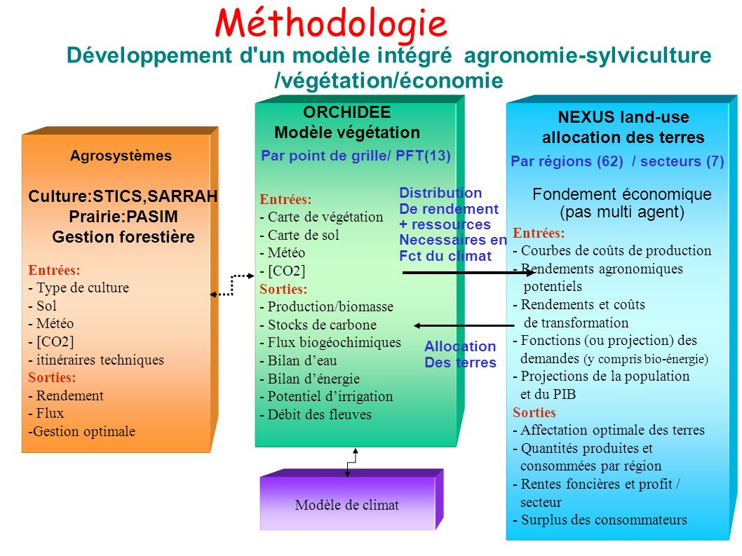 Méthodologie Développement d'un modèle intégré agronomie-sylviculture /végétation/économie Entrées: - Courbes de coûts de production - Rendements agro