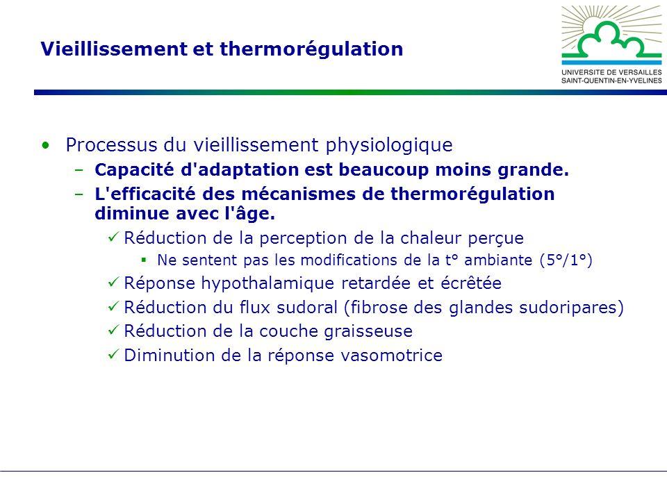 Vieillissement et thermorégulation Processus du vieillissement physiologique –Capacité d'adaptation est beaucoup moins grande. –L'efficacité des mécan