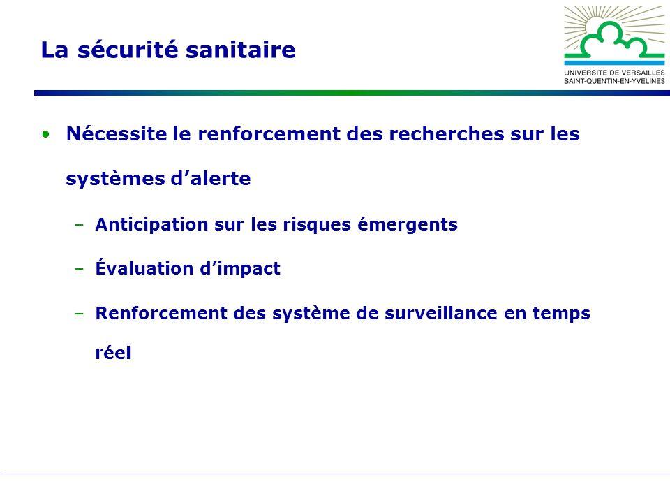 La sécurité sanitaire Nécessite le renforcement des recherches sur les systèmes dalerte –Anticipation sur les risques émergents –Évaluation dimpact –Renforcement des système de surveillance en temps réel