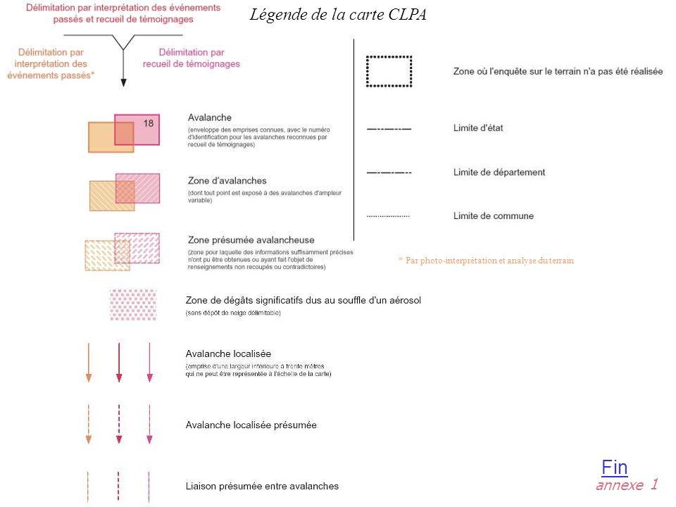 annexe Fin 1 * Par photo-interprétation et analyse du terrain Légende de la carte CLPA