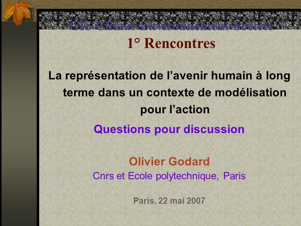 1.Questions sur la modélisation Olivier Godard 1.