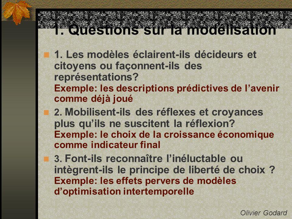 1.Questions sur la modélisation Olivier Godard 4.