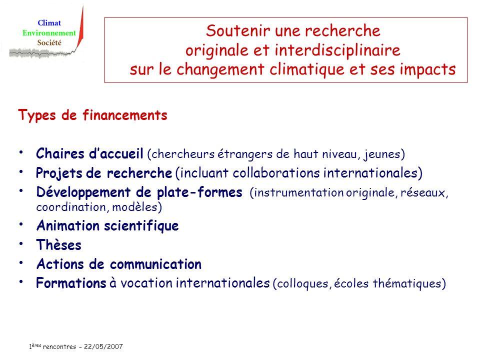 1 ères rencontres – 22/05/2007 Soutenir une recherche originale et interdisciplinaire sur le changement climatique et ses impacts Types de financement
