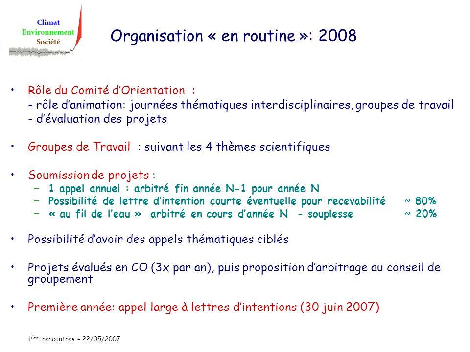 1 ères rencontres – 22/05/2007 Organisation « en routine »: 2008 Rôle du Comité dOrientation : - rôle danimation: journées thématiques interdisciplina