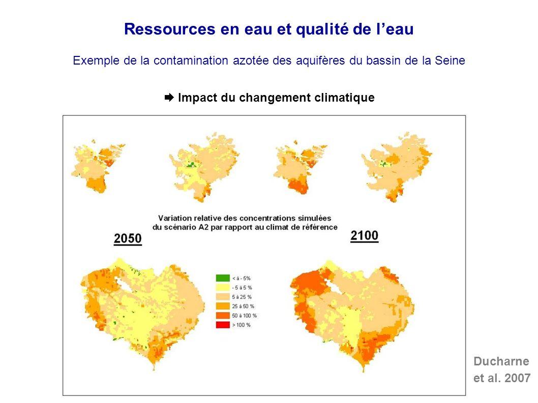 Ressources en eau et qualité de leau Exemple de la contamination azotée des aquifères du bassin de la Seine Impact du changement climatique Ducharne et al.