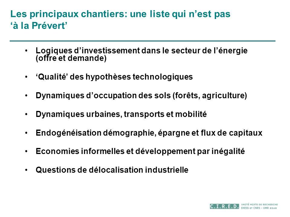 Les principaux chantiers: une liste qui nest pas à la Prévert Logiques dinvestissement dans le secteur de lénergie (offre et demande) Qualité des hypo