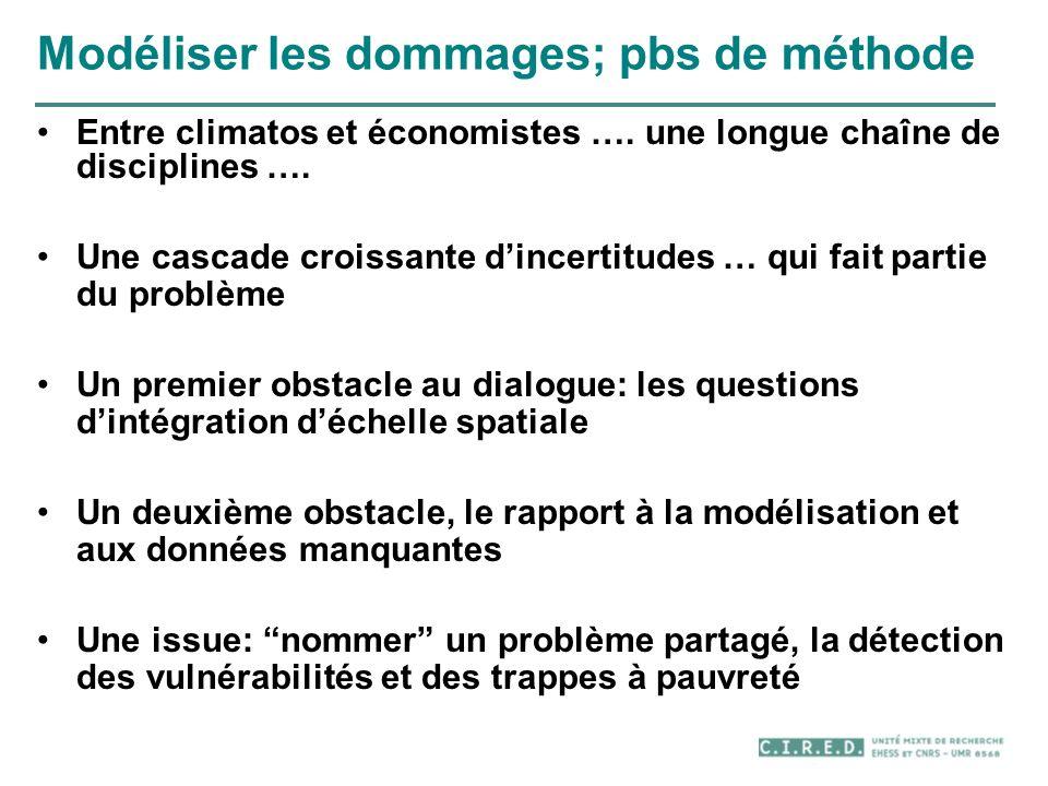 Modéliser les dommages; pbs de méthode Entre climatos et économistes …. une longue chaîne de disciplines …. Une cascade croissante dincertitudes … qui