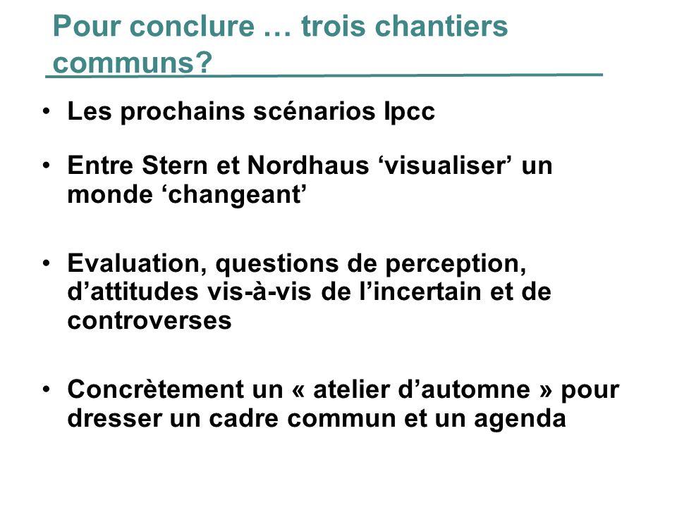 Pour conclure … trois chantiers communs? Les prochains scénarios Ipcc Entre Stern et Nordhaus visualiser un monde changeant Evaluation, questions de p