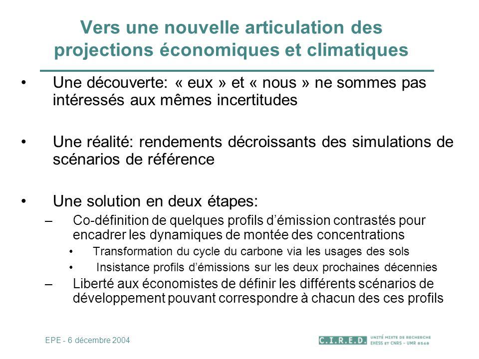 Vers une nouvelle articulation des projections économiques et climatiques Une découverte: « eux » et « nous » ne sommes pas intéressés aux mêmes incer