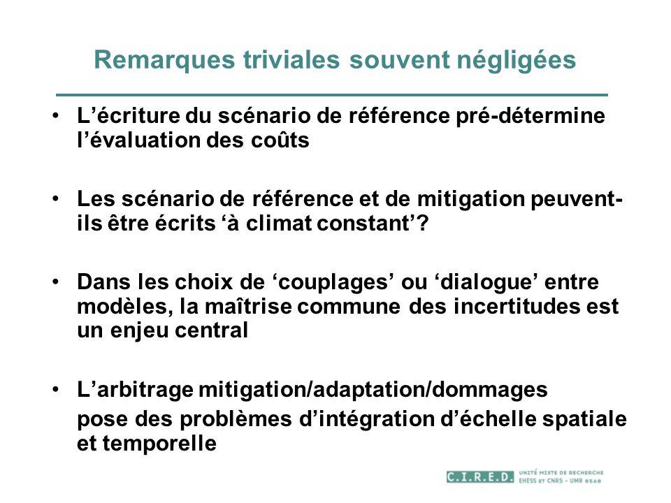 Remarques triviales souvent négligées Lécriture du scénario de référence pré-détermine lévaluation des coûts Les scénario de référence et de mitigatio