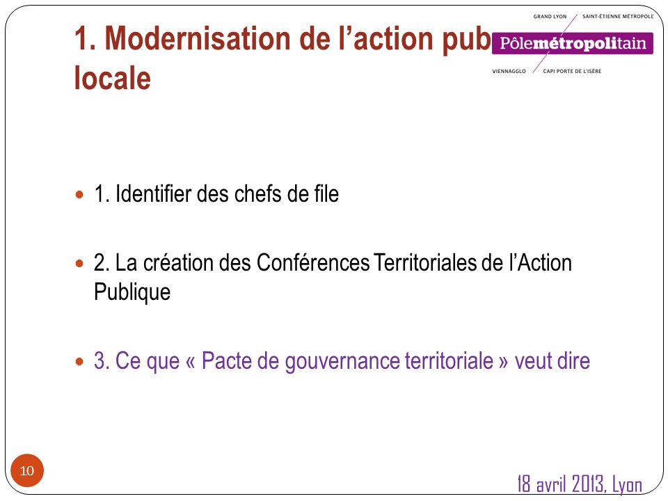 1. Modernisation de laction publique locale 10 1.