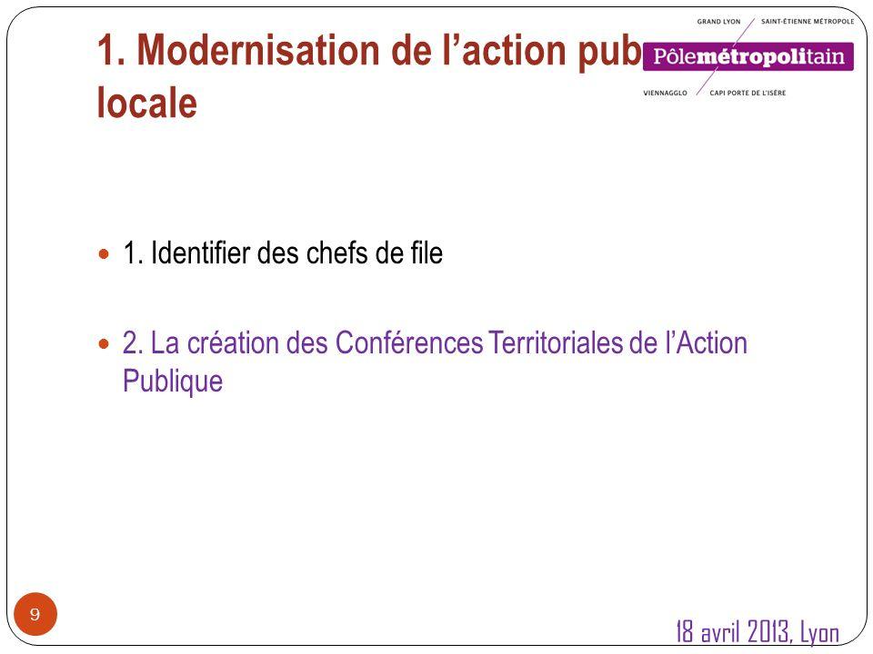 1. Modernisation de laction publique locale 9 1. Identifier des chefs de file 2.