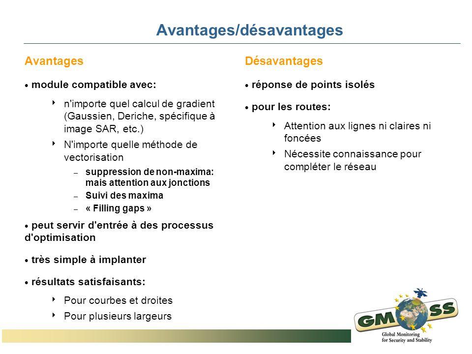 Avantages/désavantages Avantages module compatible avec: n'importe quel calcul de gradient (Gaussien, Deriche, spécifique à image SAR, etc.) N'importe