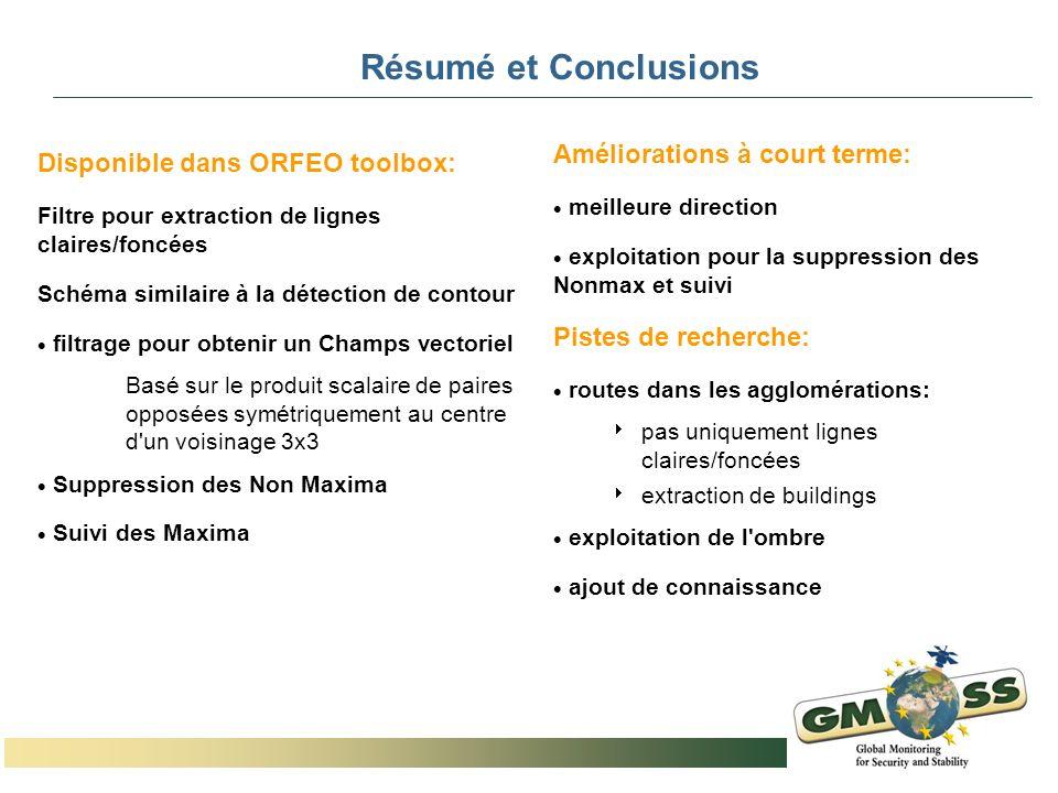 Résumé et Conclusions Disponible dans ORFEO toolbox: Filtre pour extraction de lignes claires/foncées Schéma similaire à la détection de contour filtr