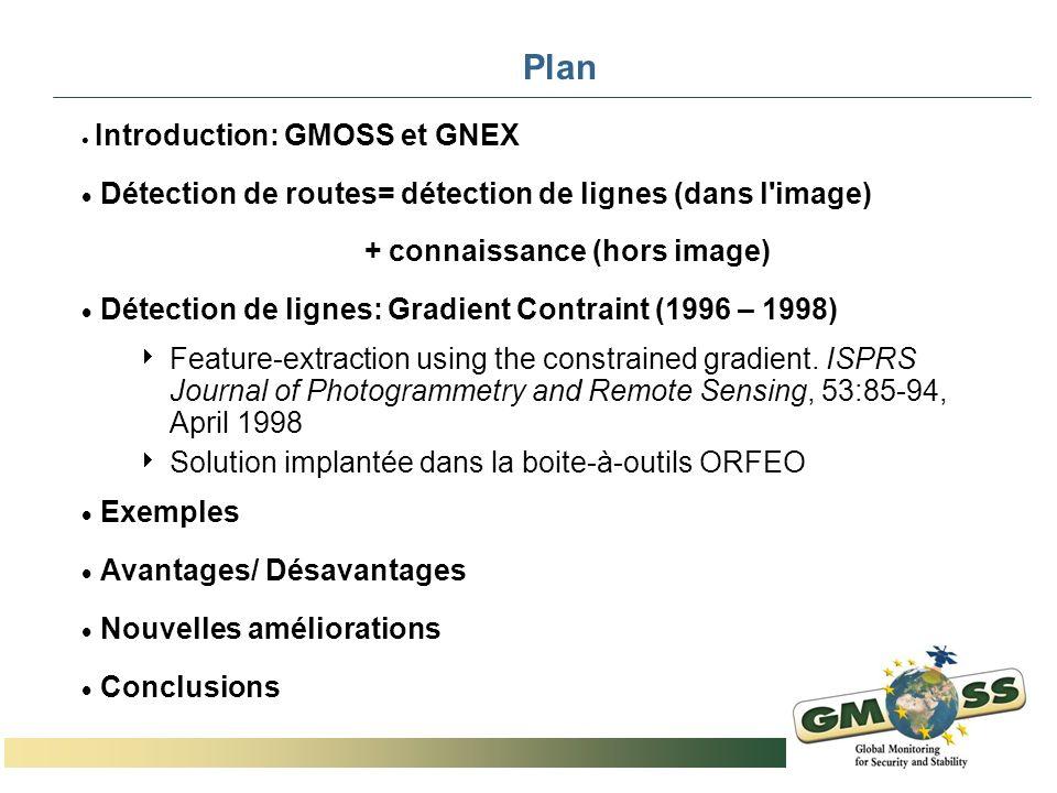 Plan Introduction: GMOSS et GNEX Détection de routes= détection de lignes (dans l'image) + connaissance (hors image) Détection de lignes: Gradient Con