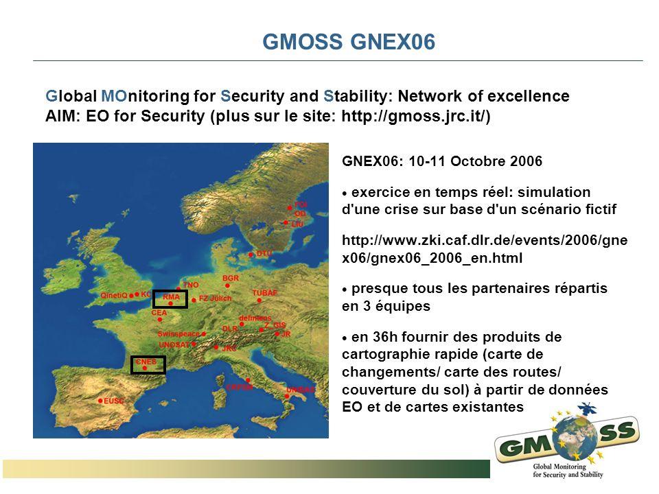 GMOSS GNEX06 GNEX06: 10-11 Octobre 2006 exercice en temps réel: simulation d'une crise sur base d'un scénario fictif http://www.zki.caf.dlr.de/events/